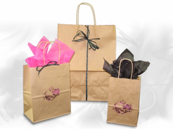 Natural Kraft Paper Shopping Bags<br />100% Recycled Paper