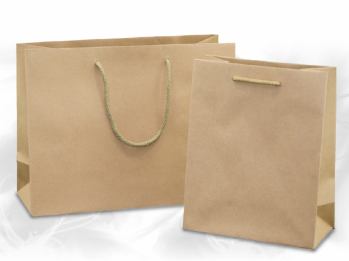 Natural Kraft Eurotote Shopping Bag w/ Soft Rope Handle