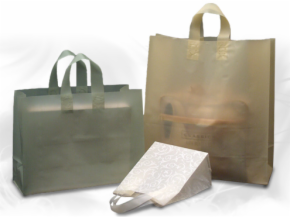 Frosted Soft Loop Plastic Shopping Bags Solid Colors