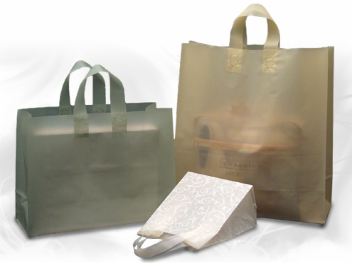 Frosted Soft Loop Plastic Shopping Bags - Solid Colors