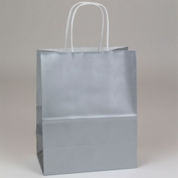 8 x 4.75 x 10.5 SILVER ULTRA GLOSS PAPER SHOPPING BAGS