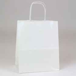 8 x 4.75 x 10.5 WHITE ULTRA GLOSS PAPER SHOPPING BAGS