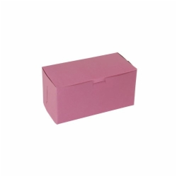 8 x 4 x 4 STRAWBERRY PINK ONE-PIECE BAKERY BOXES
