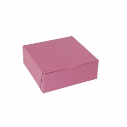 8 x 8 x 3 STRAWBERRY PINK ONE-PIECE BAKERY BOXES