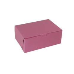 10 x 7 x 4 STRAWBERRY PINK ONE-PIECE BAKERY BOXES