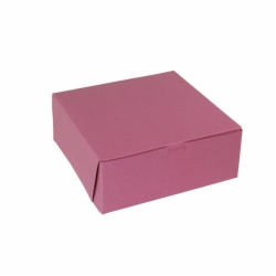 10 x 10 x 4 STRAWBERRY PINK ONE-PIECE BAKERY BOXES