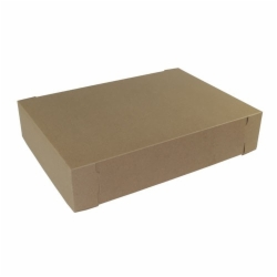 19.5 x 14 x 4 (1/2 SHEET) NATURAL KRAFT TWO-PIECE BAKERY BOXES