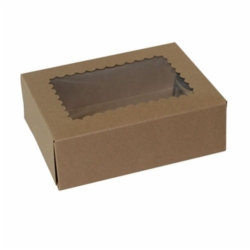 8 x 5.75 x 2.5 NATURAL KRAFT WINDOWED BAKERY BOXES
