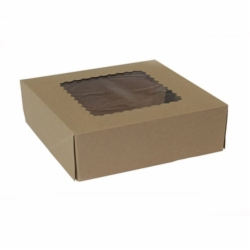 8 x 8 x 2.5 NATURAL KRAFT WINDOWED BAKERY BOXES