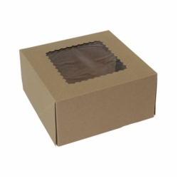 8 x 8 x 4 NATURAL KRAFT WINDOWED BAKERY BOXES