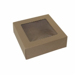 9 x 9 x 2.5 NATURAL KRAFT WINDOWED BAKERY BOXES