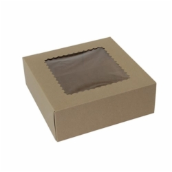 9 x 9 x 3 NATURAL KRAFT WINDOWED BAKERY BOXES