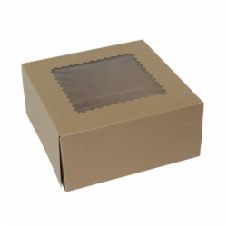9 x 9 x 4 NATURAL KRAFT WINDOWED BAKERY BOXES