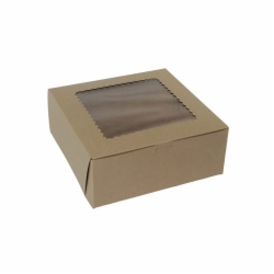 10 x 10 x 2.5 NATURAL KRAFT WINDOWED BAKERY BOXES