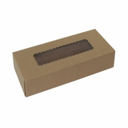 12.5 x 5.5 x 2.25 NATURAL KRAFT WINDOWED BAKERY BOXES