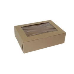 12 x 9 x 4 NATURAL KRAFT WINDOWED CUPCAKE BOXES