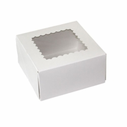 6 x 6 x 3 WHITE WINDOWED BAKERY BOXES