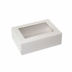 8 x 5.75 x 2.5 WHITE WINDOWED BAKERY BOXES