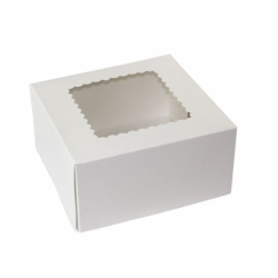 8 x 8 x 4 WHITE WINDOWED BAKERY BOXES