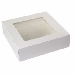 9 x 9 x 2.5 WHITE WINDOWED BAKERY BOXES