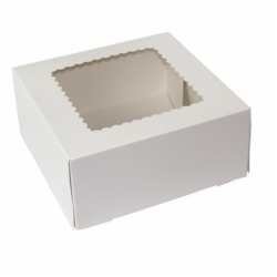 9 x 9 x 4 WHITE WINDOWED BAKERY BOXES