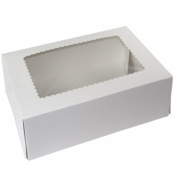 12 x 12 x 5 WHITE WINDOWED BAKERY BOXES