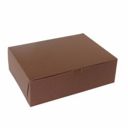 14 x 10 x 4 (1/4 SHEET) CHOCOLATE ONE-PIECE BAKERY/CUPCAKE BOXES