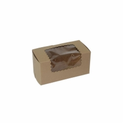 8 x 4 x 4 NATURAL KRAFT WINDOWED CUPCAKE BOXES