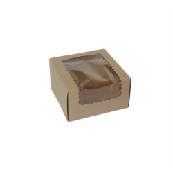 7 x 7 x 4 NATURAL KRAFT WINDOWED CUPCAKE BOXES