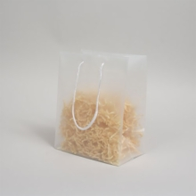 8 x 5 x 10 CLEAR FROSTED ROPE HANDLED EUROTOTE PLASTIC BAGS
