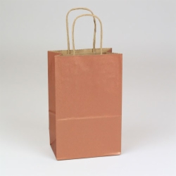 5.5 x 3.25 x 8.37 COPPER METALLIC PAPER SHOPPING BAGS ***LIMITED AVAILABILITY***