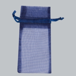 6 x 14 NAVY BLUE SHEER ORGANZA POUCHES