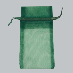 6 x 14 HUNTER GREEN SHEER ORGANZA POUCHES