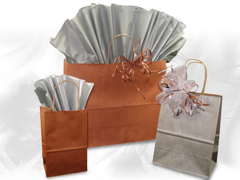 Matte Metallic Paper Shoppers